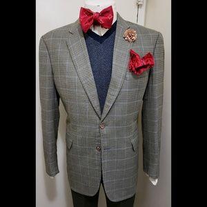 Burberry London Silk & Wool Houndstooth 42L Blazer